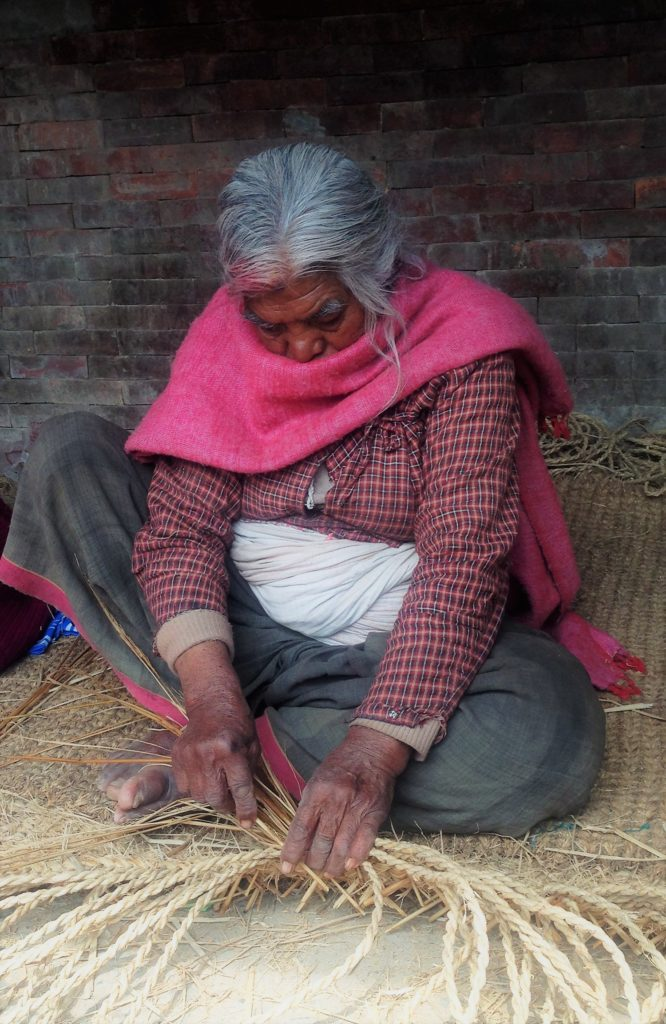 woman crafting basket